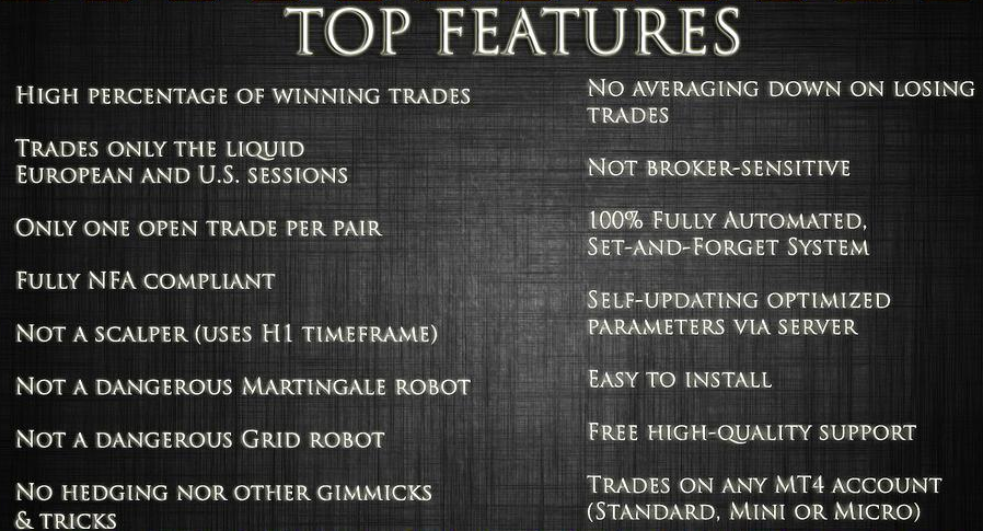 Forex robot features